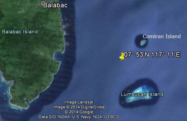 Approximate location of USS Robalo