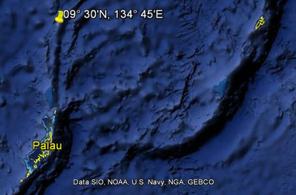 Approximate location of USS Tullibee